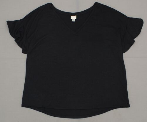 NWT A New Day Women/'s Relaxed Fit Short Ruffle Sleeve V-Neck T-Shirt Top Shirt