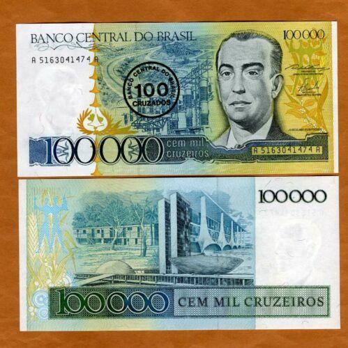 100 Cruzados on 100,000 Cruzeiros 1986 ND UNC P-208 Brazil