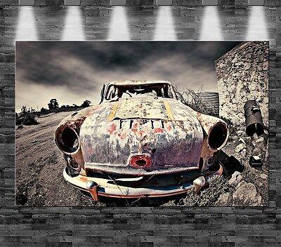 XXL Rostiges Auto auf Leinwand 110x70cm Loft Design Wüste Old