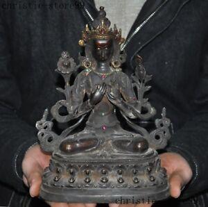 Tibet-Buddhism-bronze-Gilt-Inlay-Gem-Tara-Kwan-Yin-GuanYin-goddess-Buddha-statue