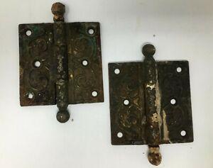 Pair-of-Antique-Cast-Ornate-Victorian-Eastlake-Door-Hinges