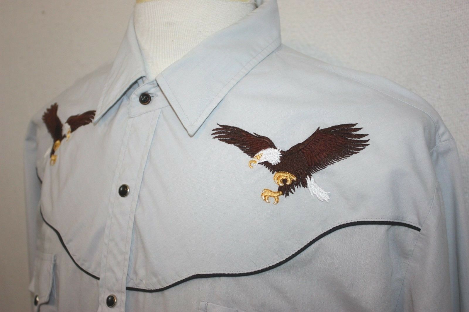 ELY Diamond Mens Western Eagle Embroidered Pale bluee Long Sleeve Snap Shirt XL