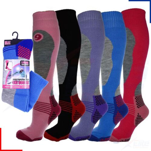 12 PAIRS LADIES THERMAL PADDED SKI SOCKS HIGH PERFORMANCE LONG LENGTH SIZE 4-7