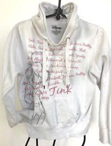 Disney-white-pink-cotton-hoodie-pull-string-kangaroo-pocket-girls-L-Tinker-Bell