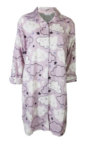 Brand New Cloud Brushed Cotton Ex Marks /& Spencer M/&S Nightshirt in Lilac