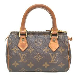 Louis-Vuitton-Mini-Speedy-M41534-Monogram-Hand-Bag-Pouch-Case-Brown-Gold-France