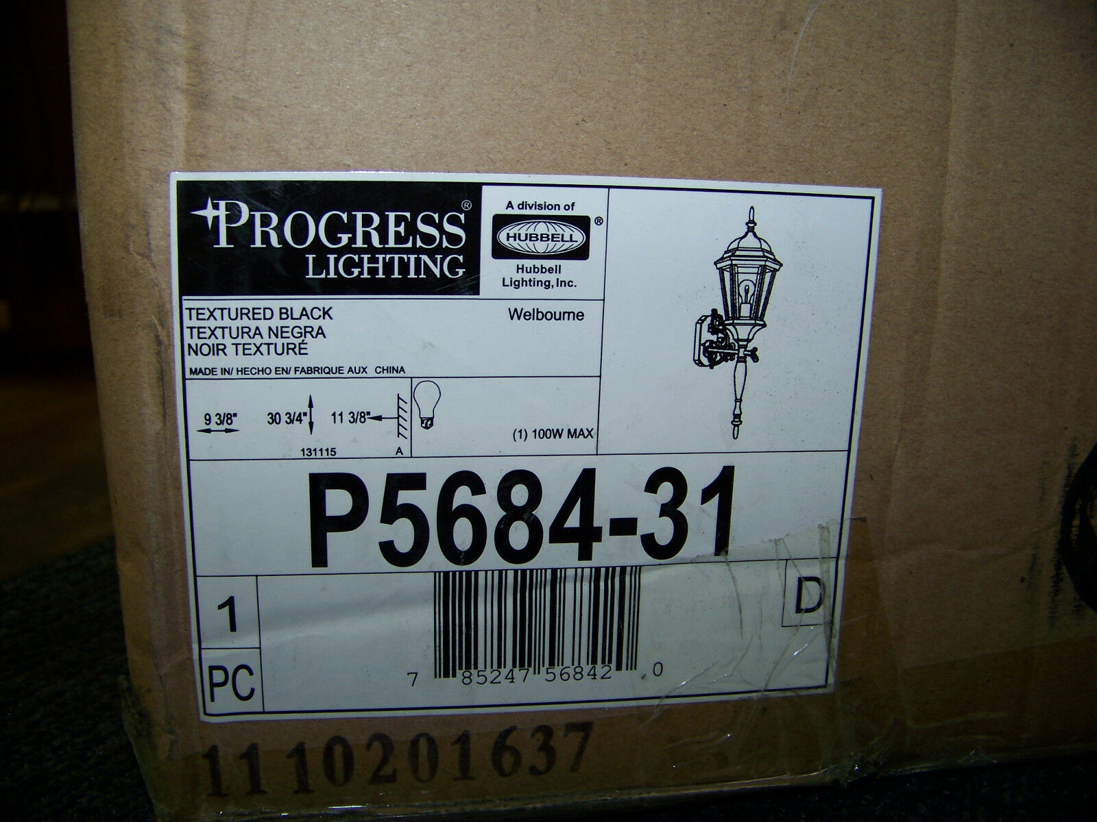 Progreso iluminación Welbourne 31  alto de Lámpara de Parojo Exterior P5684-31 W grabado de cristal