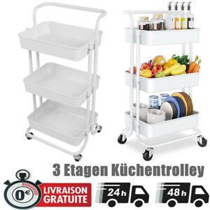 Details zu Küchenwagen Servierwagen Beistellwagen Rollwagen Küche Stahl 10  Etagen Weiß DHL S