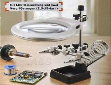 Lupe Powerfix Feinmechaniker LED Lupe 2 Halteklammern Vergrößerungen 2,5-/5-fach