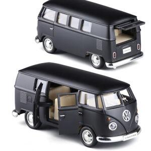 Volkswagen-Van-T1-Micro-Model-Bus-5-039-039-Toys-1-36-Gifts-Alloy-Diecast-Matte-Black