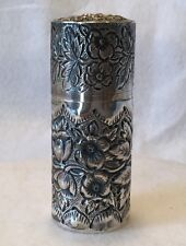 """BLACK STARR & FROST 19th c. Gents Sterling Repousse 3"""" Shaving Soap Container"""