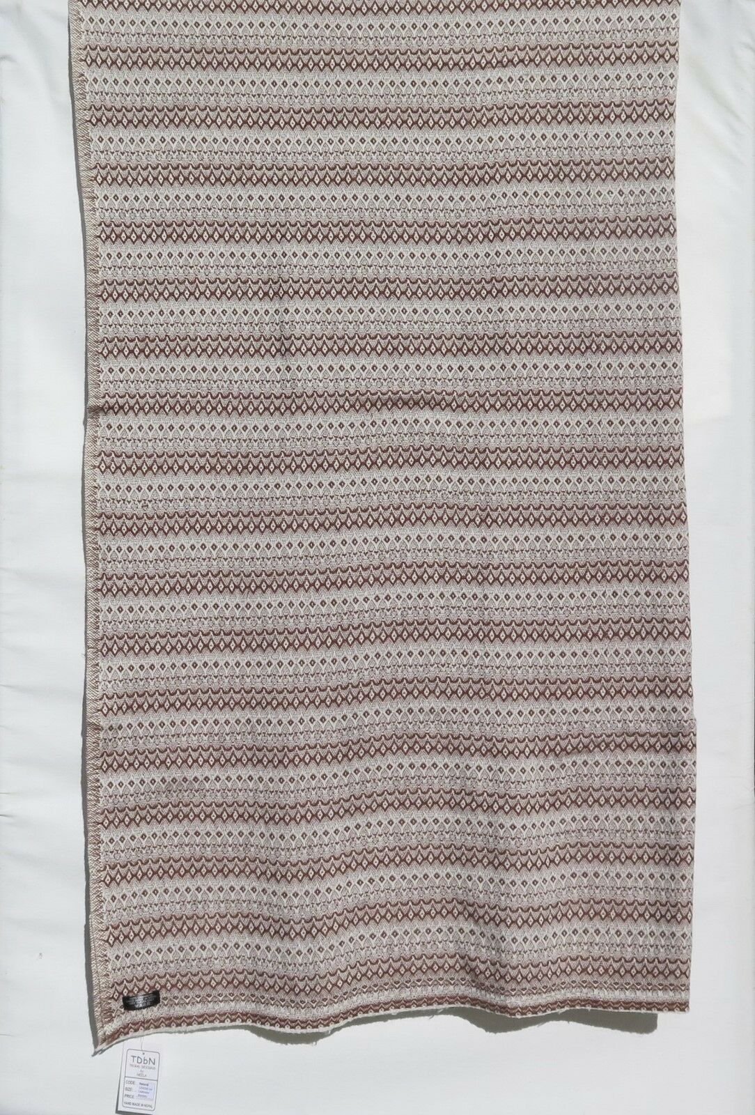 100% Cashmere 4 Ply Natural Throw Shawl Hand Loomed Nepal 2 color Brown Pearl