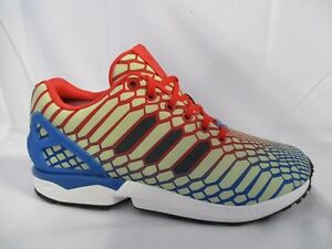best service 1bb5d 95021 Image is loading Mens-Adidas-ZX-Flux-Print-Red-Blue-White-
