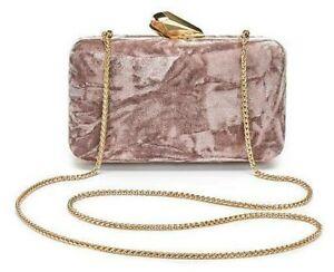 dusty pink velvet clutch bag