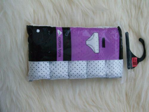 10-22 New Ladies Cotton lycra 5 pack  brief Set Size
