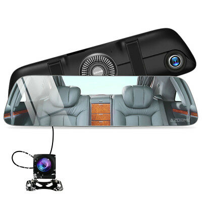 AZDOME Mirror Dash Cam Dual Camera Car Touch IPS Pantalla Vista frontal delanter