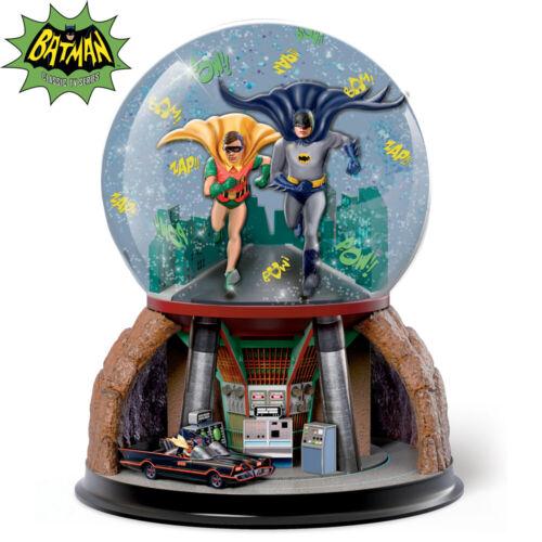 Bradford Exchange Batman To the Batmobile Glitter Globe Robin NEW Batcave TV