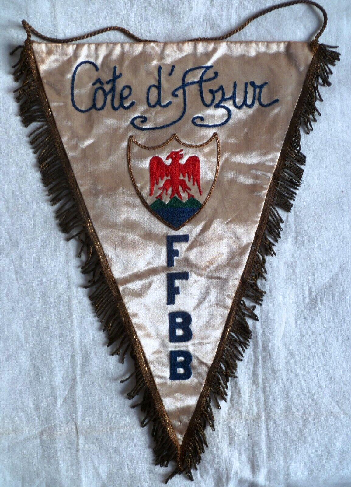 Fanion en soie 1950s NICE FFBB FEDERATION FRANCAISE BASKET BALL COTE D'AZUR