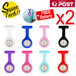 2x-Silicone-Nurse-Brooch-Tunic-Fob-Watch-Nursing-Nurses-Pendant-Pocket-Watch