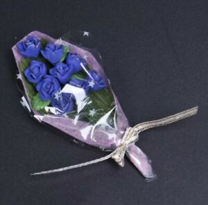 Doll-House-Accessories-1-12th-Miniature-1-Mini-Bunch-of-Blue-Roses