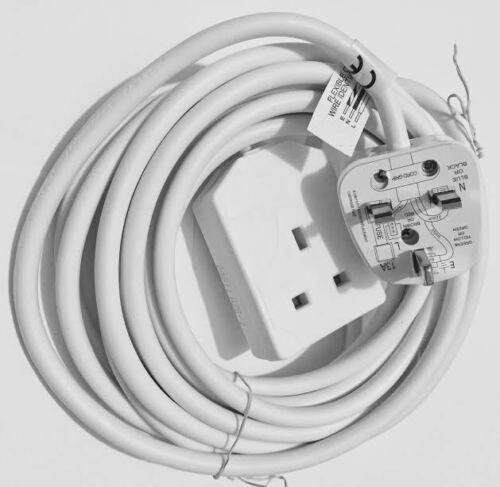 1 WAY GANG 5M Power Mains EXTENSION LEAD British Approved 13A Amps 1 SOCKET New