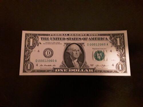 Crisp Uncirculated 2013 $1 LOW Serial Number Note