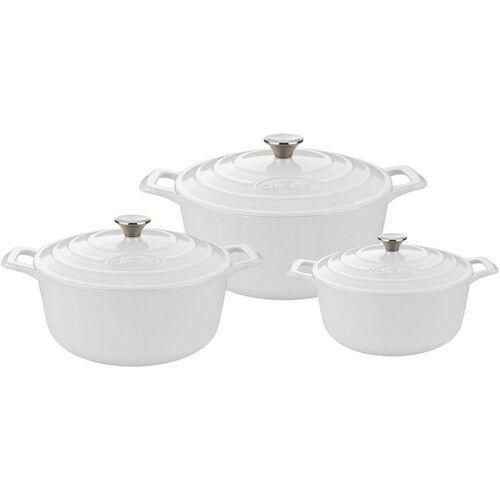 Cookware Set 6 Piece Cast Iron Round Casserole blanc Enamel Finish Dutch Oven