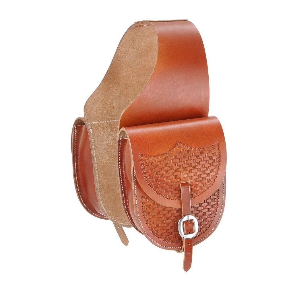 NEW Tough-1 Leather Saddle Bag with Basket Stamp 6-1 2  x 9-1 2  Medium Tan