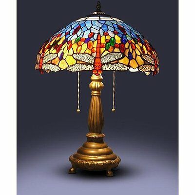 Details About 23 Tiffany Style Red Dragonfly Table Lamp Stained Gl Desk Light Handcrafted