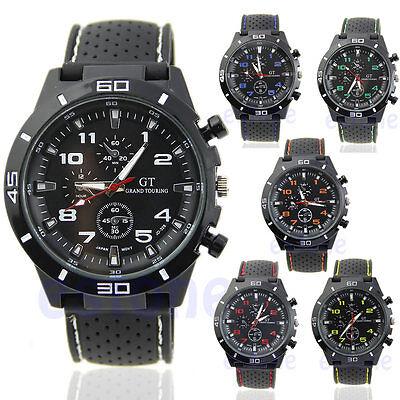 Men's Luxury Black Stainless Steel Analog Quartz Sport Clock Wrist Watch