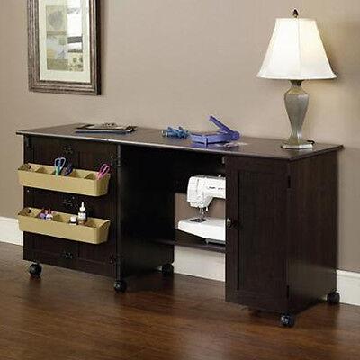 NEW Sauder Sewing & Craft Table Drop Leaf Shelves Storage Bins Cabinets BROWN