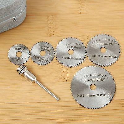 5PCS HSS Circular Saw Blade Cutting Discs Wheel Set w// Mandrel Black