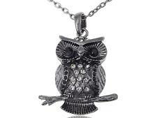 Calm Jet Black Night Crystal Rhinestone Owl Perched Branch Tree Pendant Necklace
