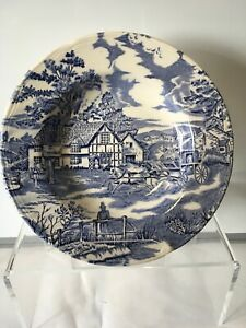 Luneville-Studio-France-English-Style-Blue-amp-White-Bowl-Scene-of-England-Faience