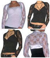 Ladies Top Bolero Lace Shrug Womens Long Sleeve Cardigan Size 8 10 12 14 16 18