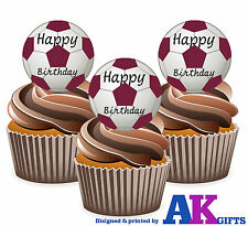 12 Maroon Footballs Happy Birthday Edible Wafer Cake Toppers Large 5cm Stand Ups