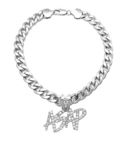 """Details about  /Hip Hop Iced White Gold PT ASAP Charm Pendant /& 18/"""" 20/"""" 24/"""" Cuban Chain Necklace"""