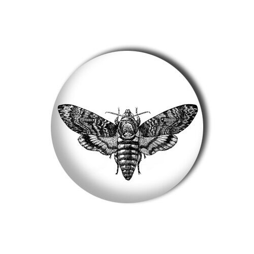 Death Head Moth 1 inch// 25mm Button Pin Badge Silence of the Lambs Lecter