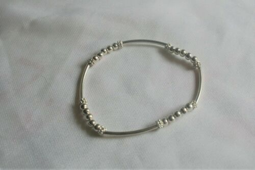 Silver Plated Beaded Stretch Bracelet with Silver Plated Bars