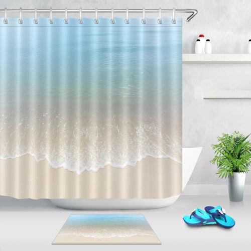 Blue Sea Water Waves Sand Beach Waterproof Fabric Shower Curtain Set Bath Mat