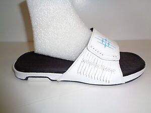 9d62bdb33 Heaton Size 8 EGYPTIAN White Black Leather Slides Sandals New Mens ...