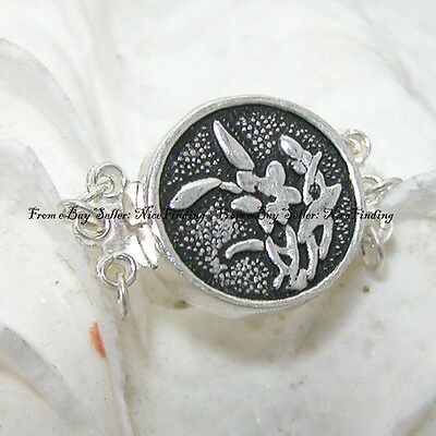 Finding 3 strand Silver Orchids Clasp 15mm Jewelry Making Design Findings ss0162