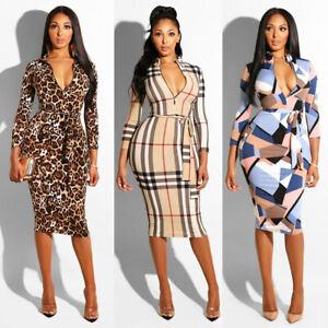 UK-Women-Long-Sleeve-Bandage-Midi-Dress-Ladies-Party-Work-Office-Bodycon-Dress