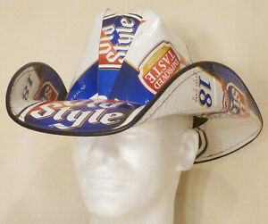 Beer Box Cowboy Hat made from recycled Old Style beer boxes