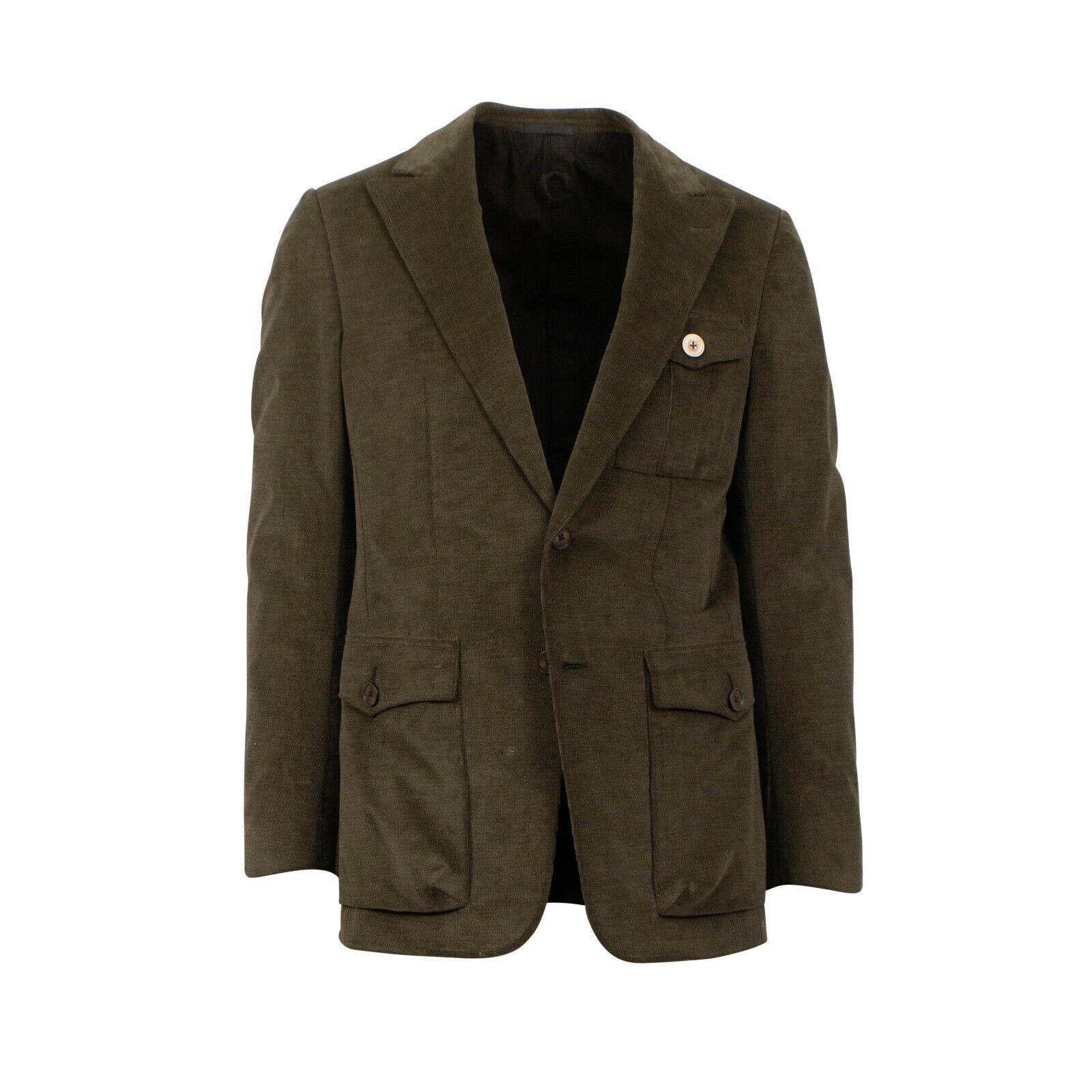 NWT CARUSO Green Corduroy Two Button Cotton Blend Sport Coat 52 42 R Drop 8
