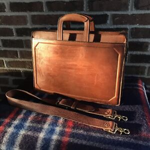 VINTAGE-1970s-COGNAC-THICK-BELTING-LEATHER-MACBOOK-DOUBLE-GUSSET-BRIEFCASE-R-998