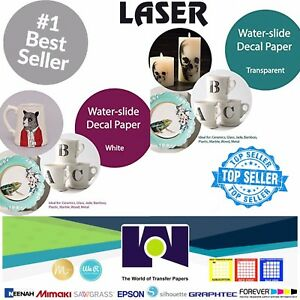 LASER-Waterslide-Decal-COMBO-10-Sheets-Each-CLEAR-amp-WHITE-Paper-8-5-034-x-11-034-A