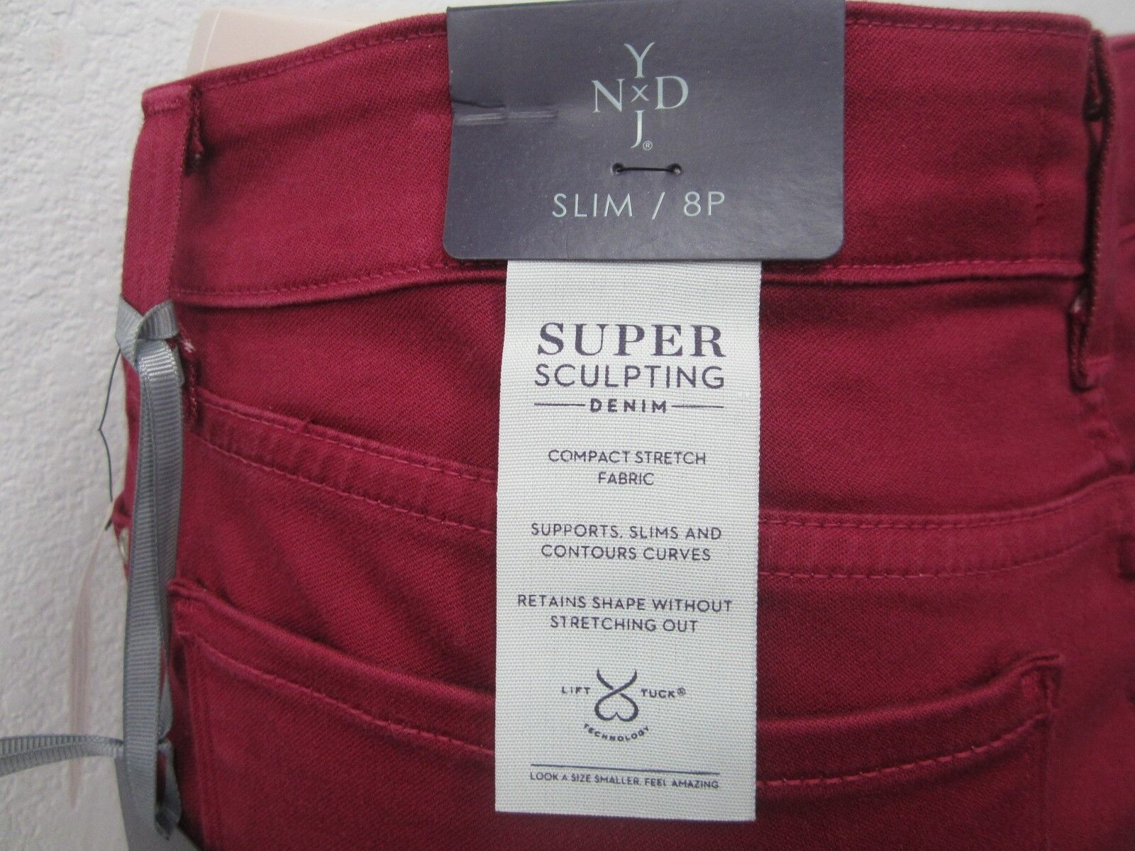 NWT NYDJ Not Your Daughters Jeans Samantha Slim Maroon ponte stretch LEGGINGS 8P
