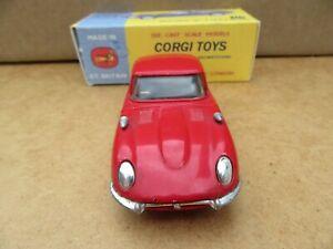 """CORGI No.374 - JAGUAR """"E"""" ttpe 2+2 ROSSO-Boxed"""