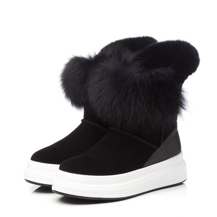 Para Mujer Moda Cuero de de gamuza de plataforma de piel de Cuero conejo Invierno Cálido Zapatos botas De Nieve c868c4